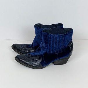 Very Volatile   Blue Velvet Cowboy Booties